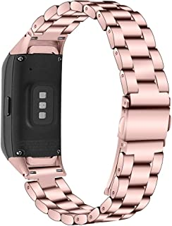 Compatible with Samsung Galaxy Fit SM-R370 Bands, Galaxy Fit Watch Band Solid Stainless Steel Metal Bracelet Strap for Gal...