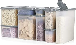 Tupperware Modular Mates Airtight Food Storage Container in Limited Edition Grey - 9 Piece Super Oval & Rectangular Set
