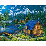 Paint by Numbers DIY Acrylic Painting Kit Lake and Wooden House Paint by Numbers for Adults-Acrylic Paint by Numbers for Adults-DIY Painting by Numbers for Adults 16x20inch