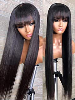 NUOF Human Hair Wigs with Bangs Straight (22inch) 8A Brazilian Virgin Human Hair Wigs for Women 130% Density None Lace Fro...
