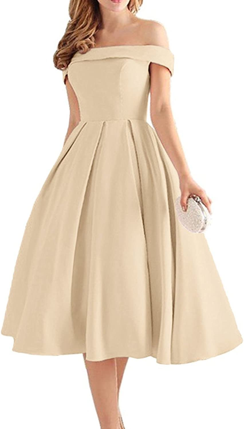 YOUTODRESS Off Shoulder Stain Prom Dresses Tea Length Bridesmaid Dresses 2018 Homecoming Gown