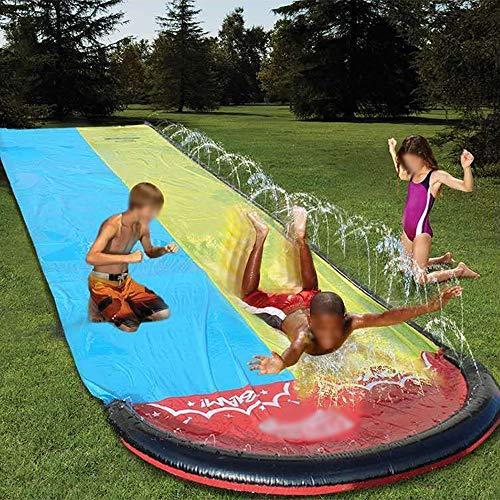 BZLLW Tobogán de agua, diapositivas for adultos-niños del jardín del agua que compite con doble tobogán spray juguete del verano for el aire libre, al aire libre Hierba de la playa Jugando agua Juguet