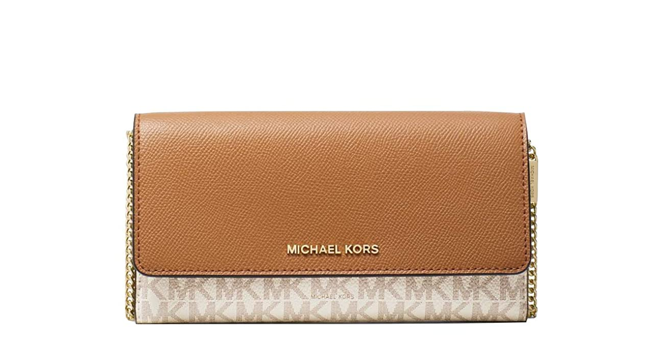 ゆりかご関係ない店員Michael Kors Large Logo and Leather Convertible Chain Wallet Crossbody Vanilla / Acorn 32H8GF5C3B-149
