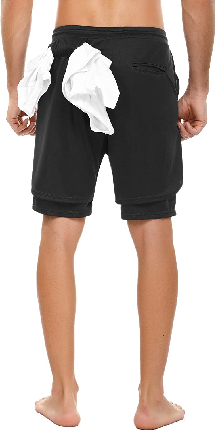 Gym 7 Shorts with Phone Pockets Sykooria Mens 2 in 1 Running Shorts Workout