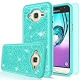 Galaxy Sky Case,Galaxy J3V / J3 V/Amp Prime / J3 (2016) / Express Prime/Sol Case with Tempered Glass Screen Protector, LeYi Girls Glitter Bling Heavy Duty Case for Samsung Galaxy J3 TP Mint