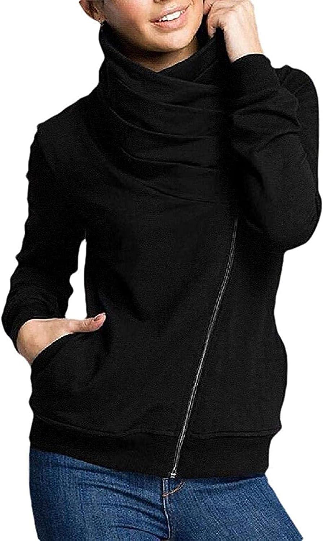 Womens Turtle Neck Casual Coat Oblique Zipper Jacket Sweatshirts