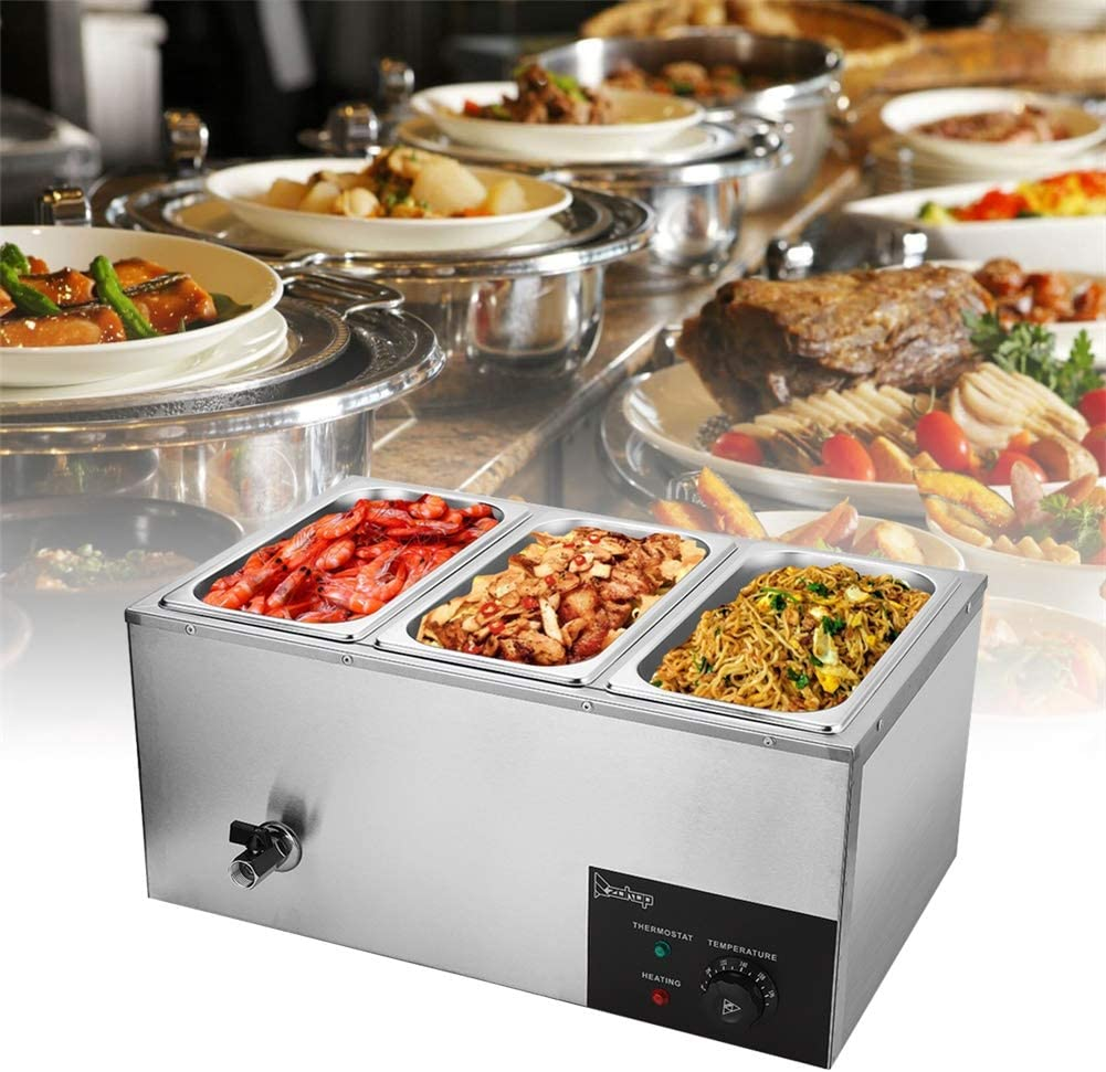 110V 3-Pan Commercial Food Warmer, 600W Electric Steam Table for Catering and Restaurants, 3 Sections Professional Stainless Steel Buffet Bain Marie