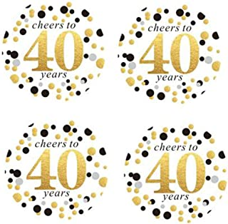 """2"""" Round 50 Pack of Cheers to 40 Years Label Stickers Birthday Party Sticker Labels 40th Birthday Party Favor Stickers 40t..."""