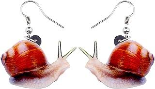 BONSNY Acrylic Cartoon Funny Snail Earrings Drop Dangle Sweet Jewelry For Women Girls Kids Gift Charms
