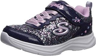 SKECHERS Glimmer Kicks, Girls' Sneakers, Multicolour (Navy/Lavender), 28 EU