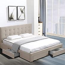 Levede Fabric Bed Frame Base Storage Drawers Mattress Platform King Size Beige