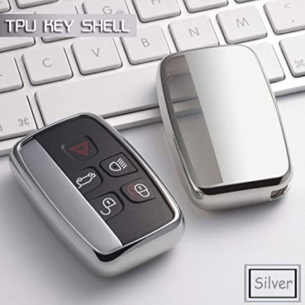 Generic TPU Soft car Key case Cover Shell Set Bag Holder for Land Rover Range Rover Sport A9 Discovery 2 3 4 for Jaguar XF A8 A9 X8 Color Name Silver