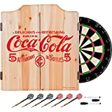 Trademark Gameroom 5 Cents Coca Cola Dart Cabinet Set with Darts & Board, Red