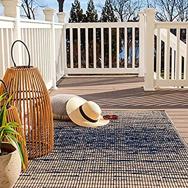 Fab Habitat Reversible, Indoor/Outdoor Weather Resistant Floor Mat/Rug - Brooklyn - Blue (4' x 6')