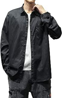 WINJUD Men's Dress Shirts Fashion Pure Pocket Long Sleeve Casual Blouse Shirt