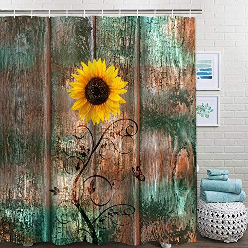 Ikfashoni Sonnenblume Schmetterling Duschvorhang mit 12 Haken, Vintage Holzbrett Duschvorhänge, wasserdichter Stoff Badvorhang für Badezimmer 69x70Inches gelb