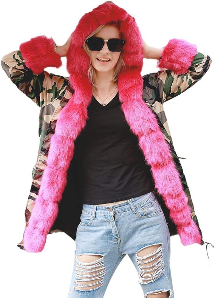 BOZEVON Women Winter Coats - Faux Fur Long Hooded Warm Thicken Outdoor Outwear