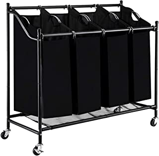 Blissun 4 Section Rolling Laundry Hamper Sorter Cart, with Removable Bags and Brake Casters (Black)