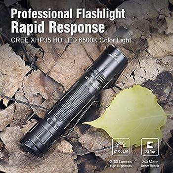 Klarus XT2CR Pro 2100 lumens Tactique Lampe de Poche Rechargeable Ultra lumineuse, CREE XHP35 HD E4 LED lampe torche étanche pour camping en plein, avec batterie 18650 et Holster? (XT2CR Pro)