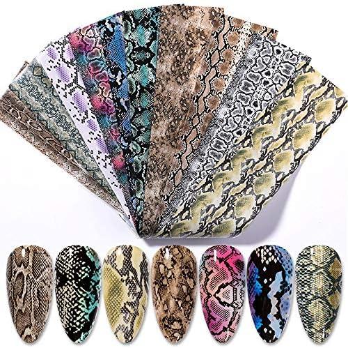 Nail Art Foil Transfers Stickers 10 Sheets Snake Skin Python Pattern Laser Starry Sky Nail Art product image