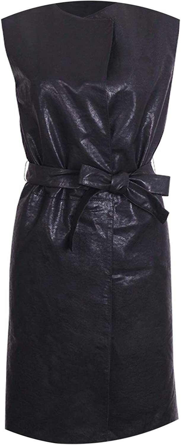 Sleeveless Pu Leather Long Jackets Women Solid color Turn Down Collar Sashes Jackets Outerwear