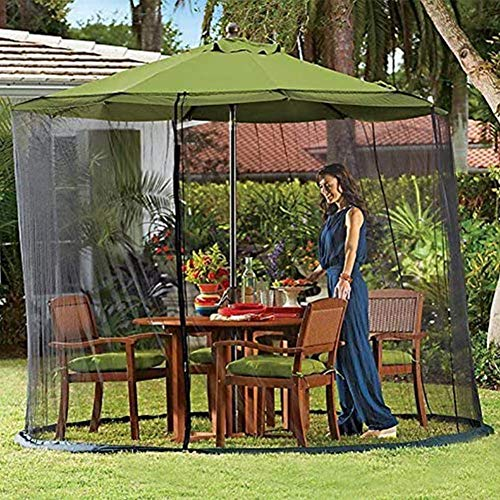 Nfudishpu Patio Umbrella Mosquito Netting-Umbrella Net Cover Screen, Screen Mesh Polyester with Zipper Opening and Water Tube at Base to Hold in Place