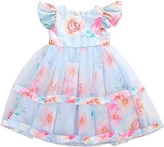Carolilly Abito Bambina Principessa a Rose Vestito da Cerimonia Elegante Abito Battesimo Neonata Abito da Sposa Floreale i...