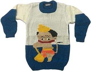 Woolen Sweater Cum Sweatshirt/Top for 6-12 Months Baby Boy's & Girls White & Blue