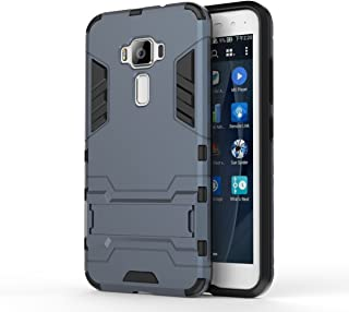 Asus ZenFone 3 ZE520KL Case: Lrker Full Protection Super Hard PC Armor Shell Soft TPU Inside Dual Layer with Kickstand Fall Proof Prevent Drop for Asus ZenFone 3 ZE520KL(Not ZE552KL), Grayblue