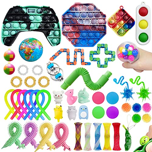 50 Pack Sensory Pop Fidget Packs Mini Keychain Pop Toys Set Kids Adults Stress Relief and...