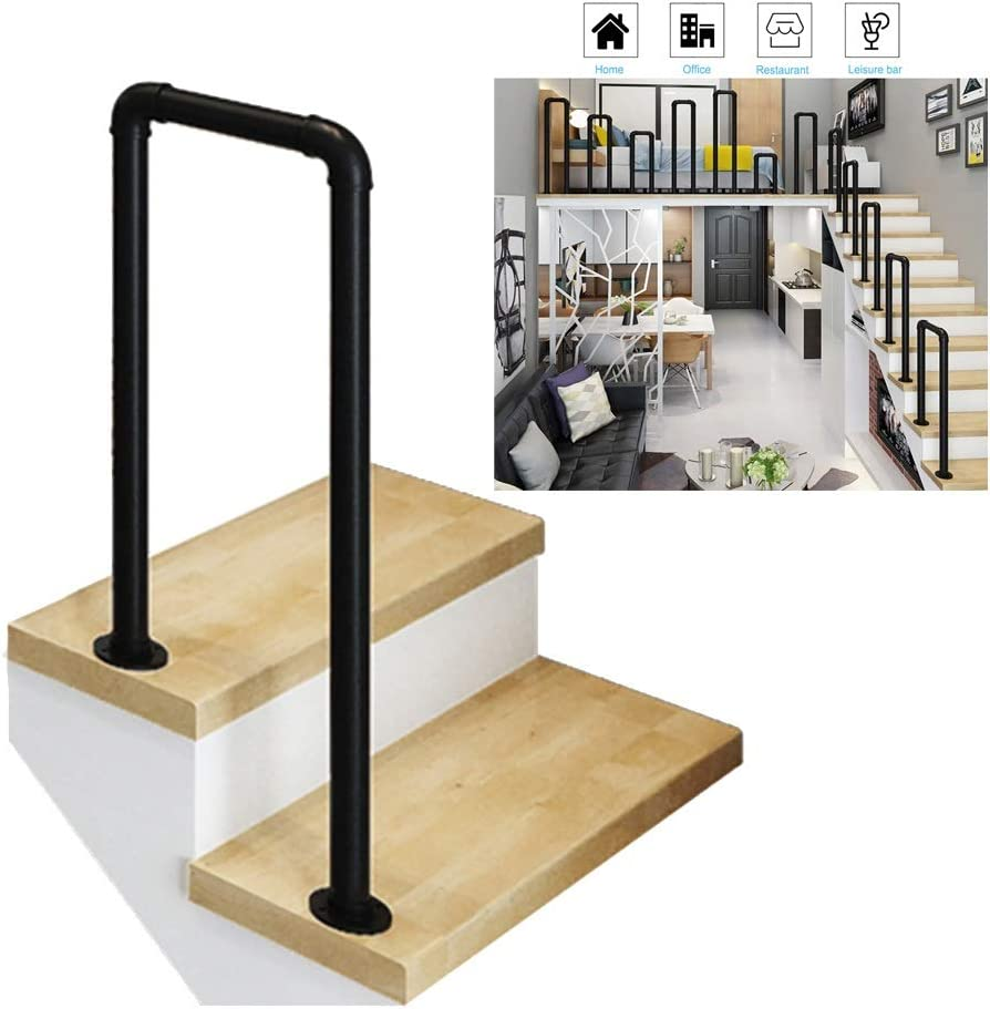 2 Step Handrail- Complete Kit Sale special price Black Industrial Fresno Mall Iron Stair Raili