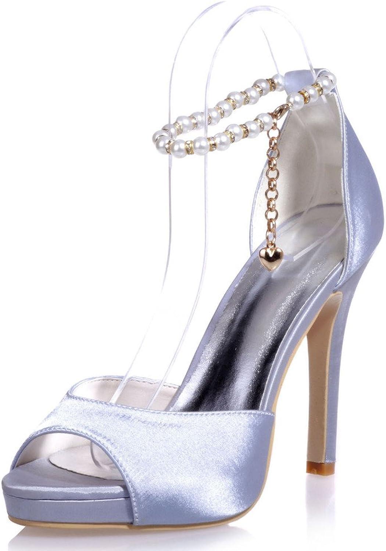 Monie Women's Handmade Platform Stiletto Wedding Dress shoes Peep Toe Pumps Jewelled Pearls Strap