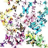 Ewong Butterfly Wall Decals - 72PCS 3D Butterflies Home Decor-Stickers, Removable Mural De...