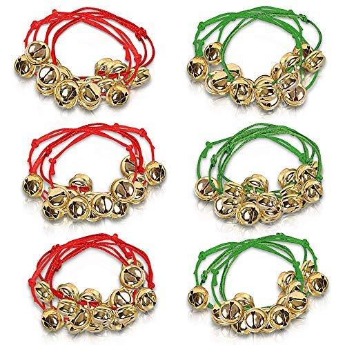 Jingle Bell - Juego de 24 pulseras de campana, color rojo y verde ajustables, medias navideñas..