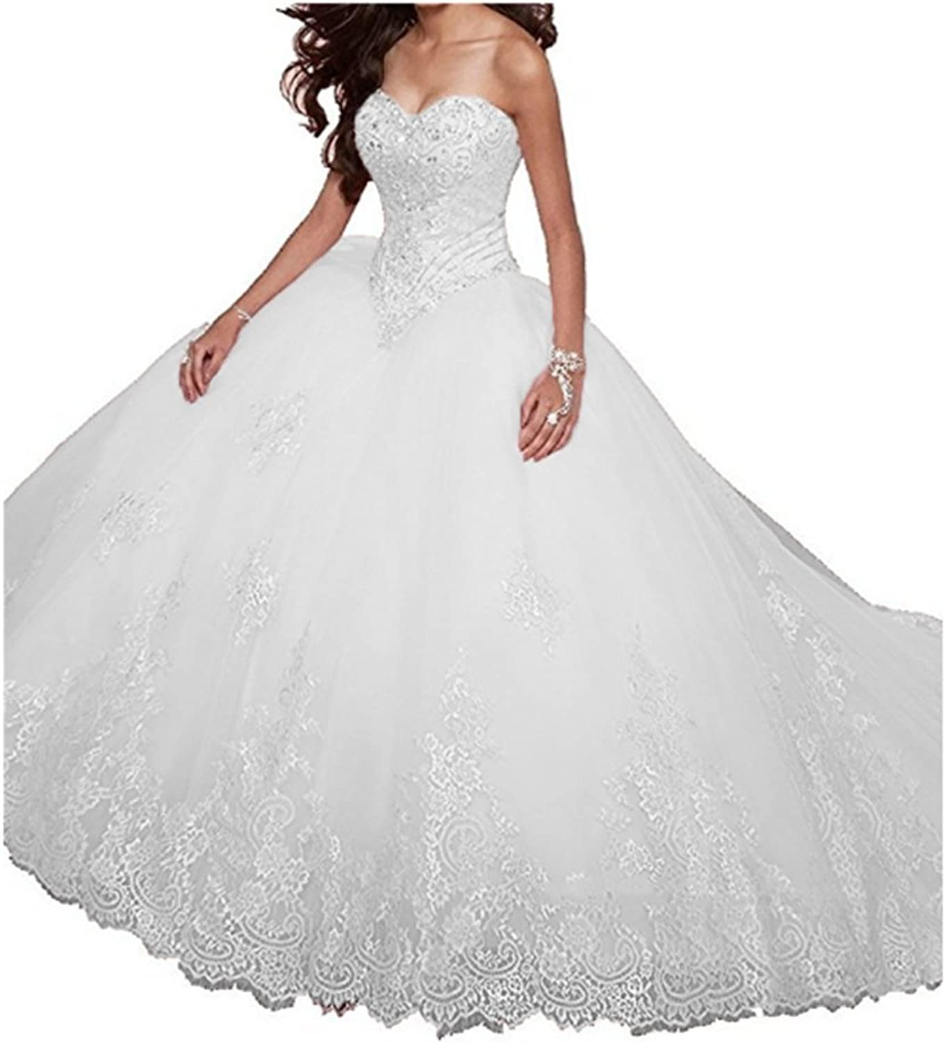 FWVR Women's Sweetheart Appliques Beaded Ball Gown Long Tulle Quinceanera Prom Dresses