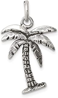 925 Sterling Silver Palm Tree Pendant Charm Necklace Sea Shore Man Fine Jewelry Gift For Dad Mens For Him