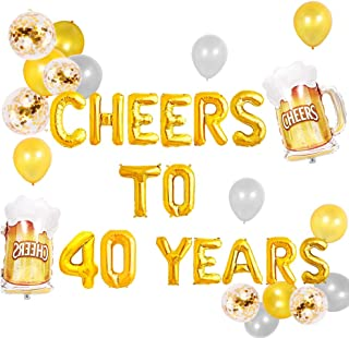 JeVenis Set of 18 Cheers To 40 Years Balloons Cheers To 40 Years Banner Cheers & Beers to 40 Years Banner 40th Birthday Party 40th Anniversary 40th Birthday Sign 40th Birthday Decor 40th Party Banner