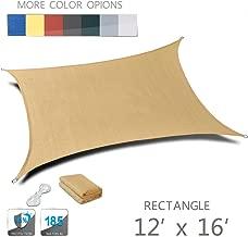 Love Story 12' x 16' Rectangle Sand UV Block Sun Shade Sail Perfect for Outdoor Patio Garden