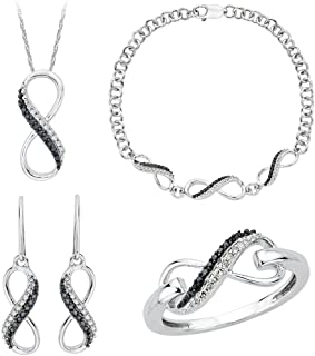 Infinity Black and White Diamond Jewelry Set in Sterling Silver (3/8 cttw)