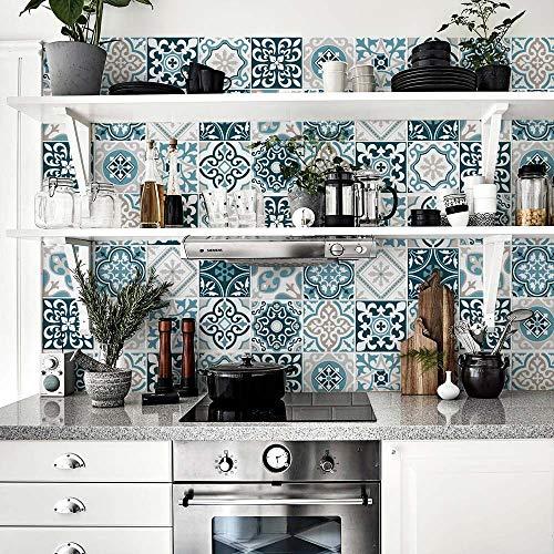 kina (Packung 32 Stück) Fliesenaufkleber Größe 15x15 cm PS00206 Göteborg PVC-Aufkleber für Bad- und Küchenfliesen Designaufkleber
