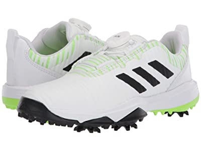 adidas Golf Codechaos BOA (Little Kid/Big Kid) (Footwear White/Core Black/Signal Green) Golf Shoes