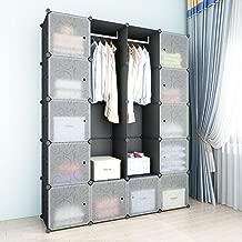 SIMPDIY Space-Saving Multifunction Sturdy Plastic Storage Organizer Shelves Bookshelf Plastic Portable Wardrobe Black (12+2 Cubes 2 Rods 144x36x180cm/57x13x71In)