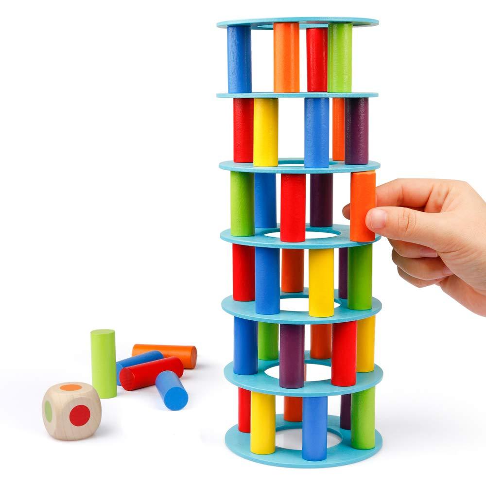Coogam Juego de apilamiento de Torres de Madera, Bloques de construcción de Habilidades motoras Finas con Dados Que derrumban la Torre Inclinada de Juguete Juegos de Fiesta de la Familia Montessori: Amazon.es: