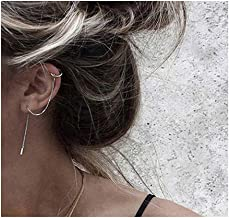 SLUYNZ 925 Sterling Silver Cuff Chain Earrings Wrap Tassel Earrings for Women Crawler Earrings