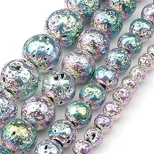 Tablecl Cuentas De Hematita Redondas De Piedra De Lava Natural De Color Rosa Dorado Y Plateado para Joyería De Costura Accesorios De Collar De Pulsera 15 Multicolor 2 8mm 45pcs Beads