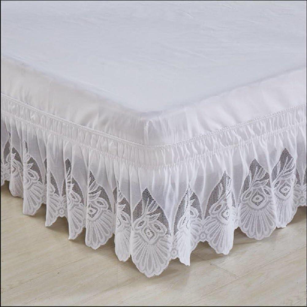 hxxkact Falda Bajera para Cama, diseño con Volantes,algodón poliéster Oculta-somier