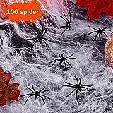 100g Halloween Dekoration Spinnennetz, 100g Dehnbaren Spinnennetzen und 100 Schwarzen Horrorspinnen Für Halloween Party Props - 7