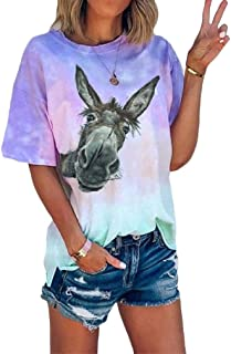 Zimaes Womens Short-Sleeve Pattern Print Tie Dye Casual Tunic T Shirts Tops Blouse