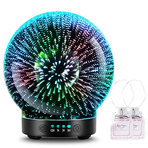 3D Glass Aromatherapy Essential Oil Diffuser – Newest Version Fragrance Oil Humidifier , 7 LED Color Lighting Modes Firework Theme , Premium Ultrasonic Mist , Auto-Off Safety Switch (Black)
