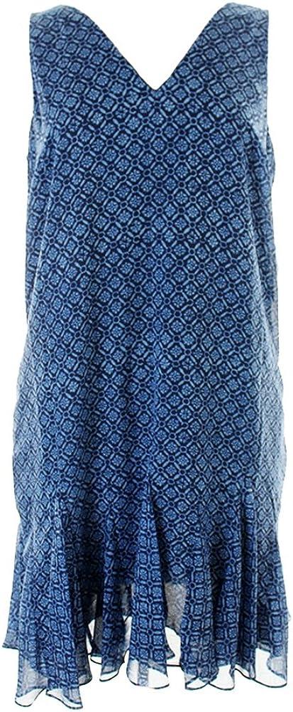 LAUREN RALPH LAUREN Women's Geo-Print V-Neck Sleeveless Dress